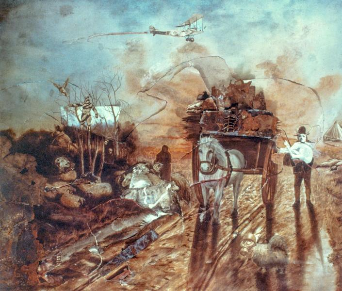 <p>World War I collage added to print of an Angelus scene for Polaroid. (Photograph by Rosamond Purcell/Courtesy of BOND/360) </p>