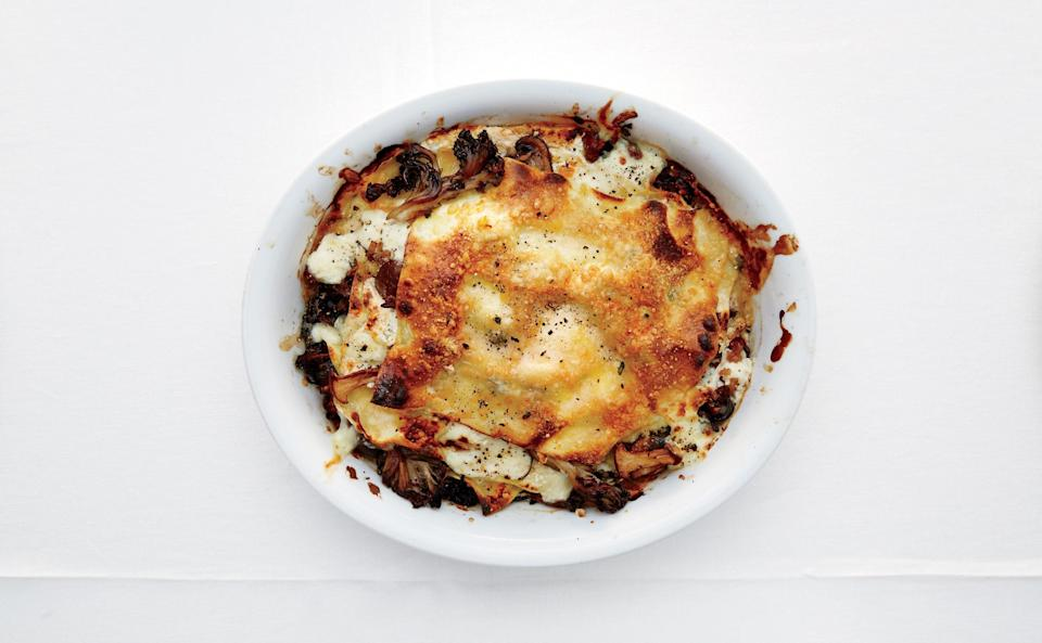 "Listen, this dish is indulgent and makes a bit more than two responsible adults should finish in one sitting. But for crying out loud, live a little. (And anyway, the kale keeps it virtuous.) <a href=""https://www.bonappetit.com/recipe/mushroom-and-burrata-lasagnette?mbid=synd_yahoo_rss"" rel=""nofollow noopener"" target=""_blank"" data-ylk=""slk:See recipe."" class=""link rapid-noclick-resp"">See recipe.</a>"