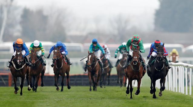 Horse Racing - Grand National Festival - Aintree Racecourse, Liverpool, Britain - April 12, 2018 Balnaslow ridden by Derek O'Connor (2nd R) in action before winning the 16:05 Randox Health Foxhunters' Open Hunters' Chase Action Images via Reuters/Matthew Childs