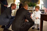 <p>Kate and William's son stayed up past his bedtime, wearing his dressing gown and pyjamas, to meet the President of the US Barack Obama at Kensington Palace in April 2016. </p>