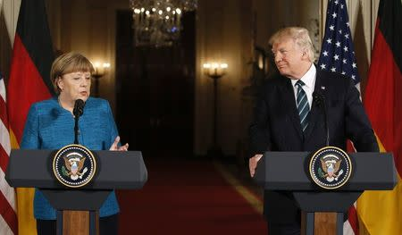 U.S. President Trump and German Chancellor Merkel give a joint news conference in Washington