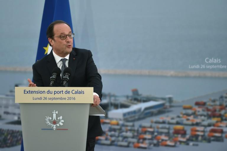 French President Francois Hollande speaks at a ceremony to mark the laying of the first stone of the extension of the port of Calais, on September 26, 2016