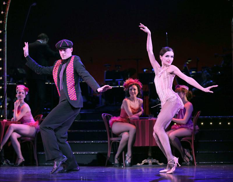 """This undated theater image released by Helene Davis Public Relations shows Shonn Wiley, left, and Irina Dvorovenko during a performance of """"On Your Toes,""""  at New York City Center in New York. (AP Photo/Helene Davis Public Relations, Joan Marcus)"""