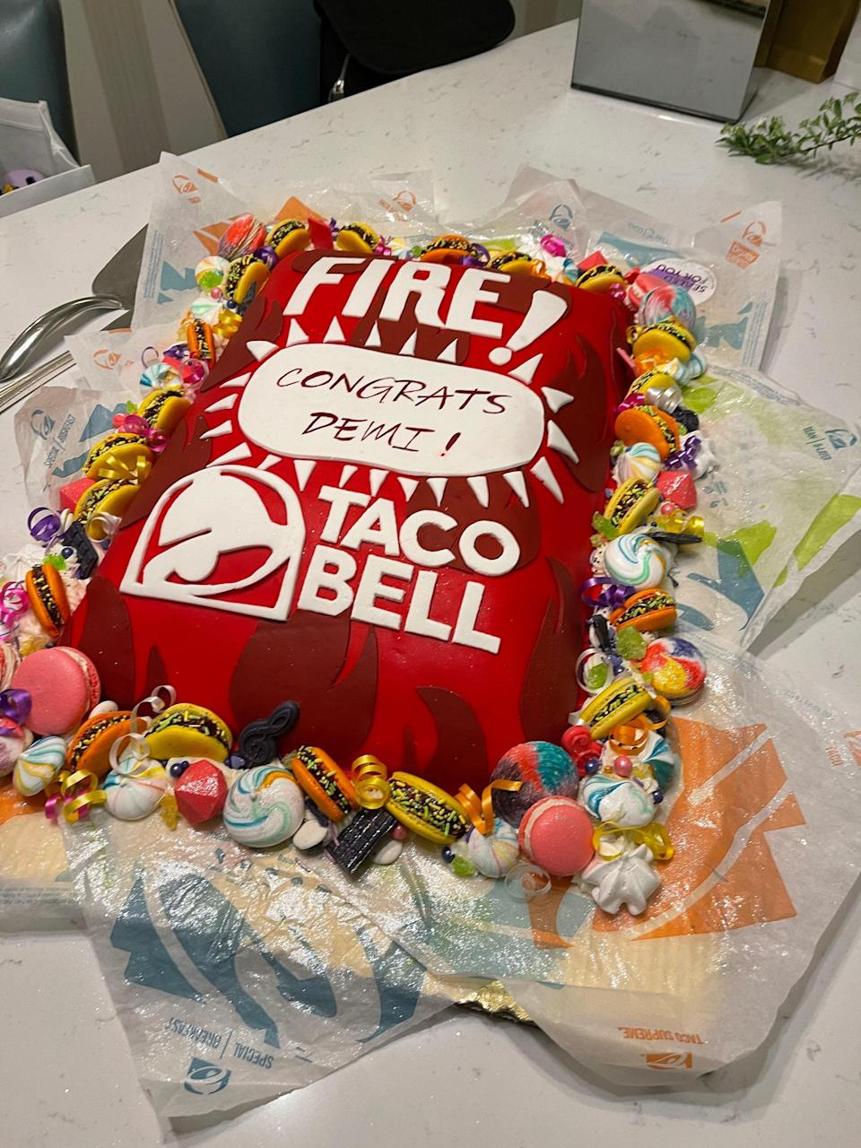<p>After the premiere, my team surprised me with a Taco Bell dinner and this awesome cake!!! We also munched on yummy vegan ice cream from one of my favorite LA restaurants—Craig's!</p>