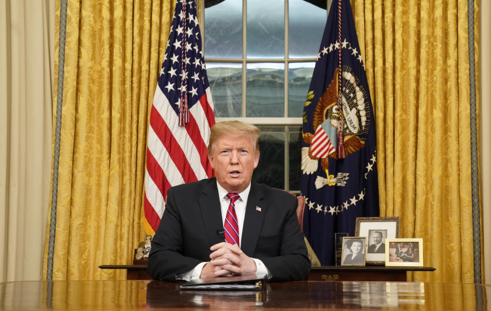 US president Donald Trump speaks from the Oval Office of the White House as he gives a primetime address about border security on Tuesday (Picture: AP)