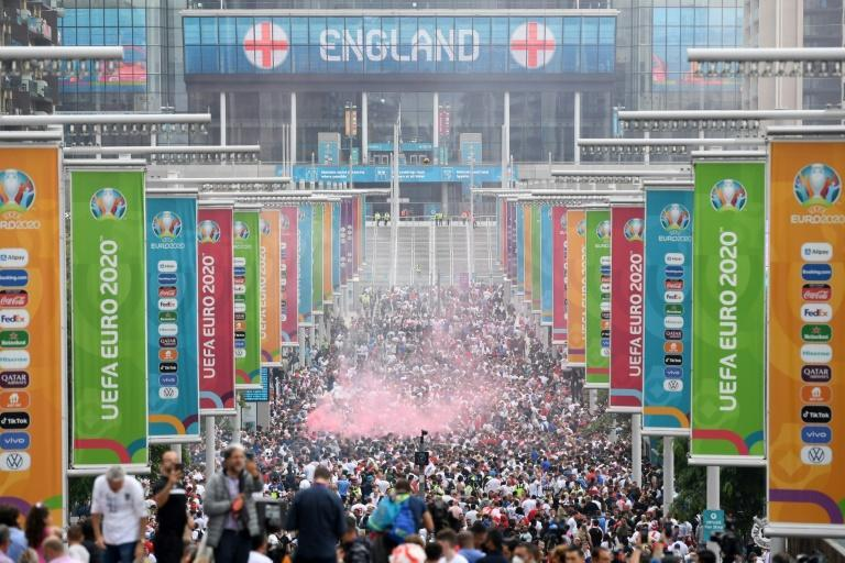 Supporters filling Wembley Way as they arrive at Wembley Stadium