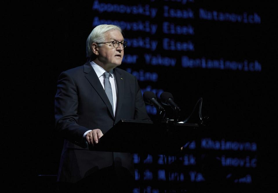 Germany's Federal President Frank-Walter Steinmeier speaks during commemorative events marking the 80th anniversary of the Babi Yar massacre of Kyiv Jews perpetrated by German occupying forces in 1941 in Kyiv, Ukraine, Wednesday, Oct. 6, 2021. (Ukrainian Presidential Press Office via AP)