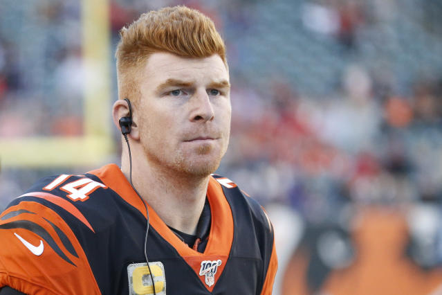 Andy Dalton will serve as an insurance policy for the Dallas Cowboys this season behind incumbent starter Dak Prescott. (AP Photo/Frank Victores)