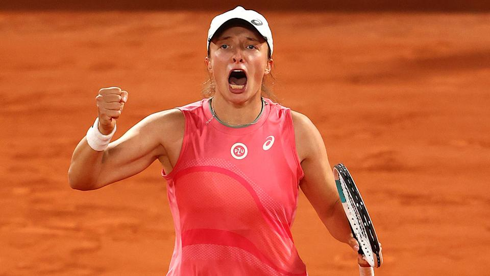 Iga Swiatek, pictured here celebrating after beating Marta Kostyuk at the French Open.