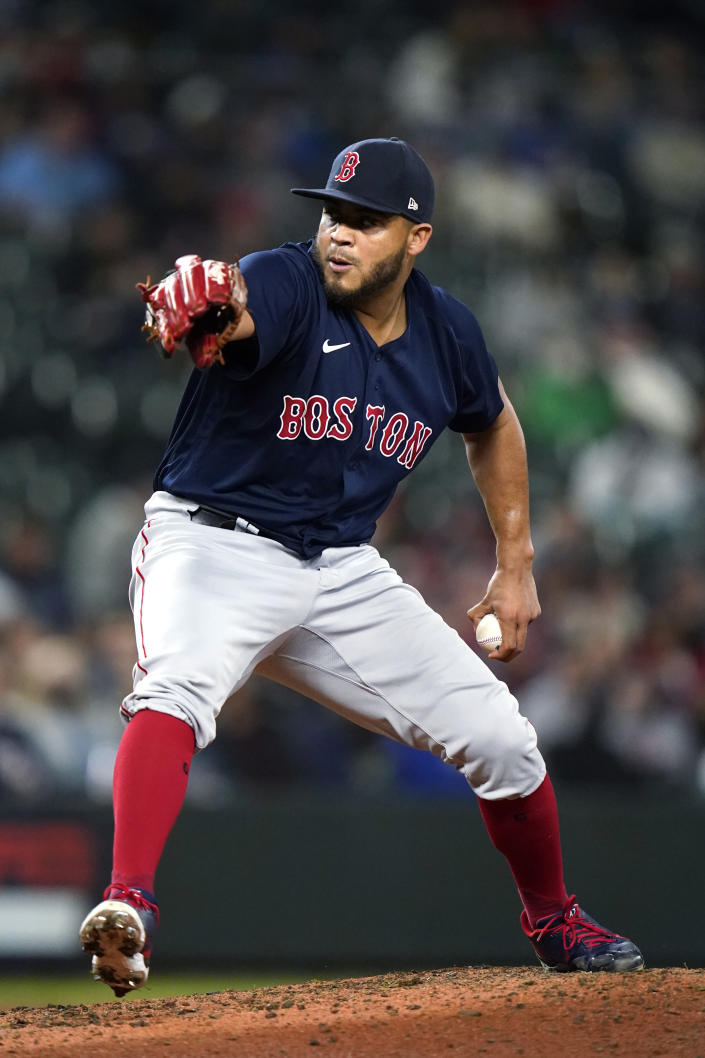 Boston Red Sox relief pitcher Darwinzon Hernandez throws to a Seattle Mariners during the sixth inning of a baseball game Tuesday, Sept. 14, 2021, in Seattle. (AP Photo/Elaine Thompson)