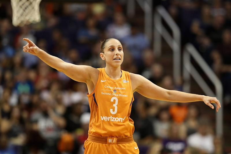 PHOENIX, AZ - AUGUST 31: Diana Taurasi #3 of the Phoenix Mercury during game three of the WNBA Western Conference Finals against the Seattle Storm at Talking Stick Resort Arena on August 31, 2018 in Phoenix, Arizona. The Mercury defeated the Storm 86-66. NOTE TO USER: User expressly acknowledges and agrees that, by downloading and or using this photograph, User is consenting to the terms and conditions of the Getty Images License Agreement. (Photo by Christian Petersen/Getty Images)