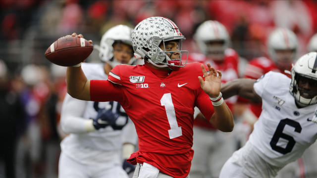 Ohio State quarterback Justin Fields prepares to throw against Penn State on Saturday in Columbus, Ohio. (AP Photo/Jay LaPrete)