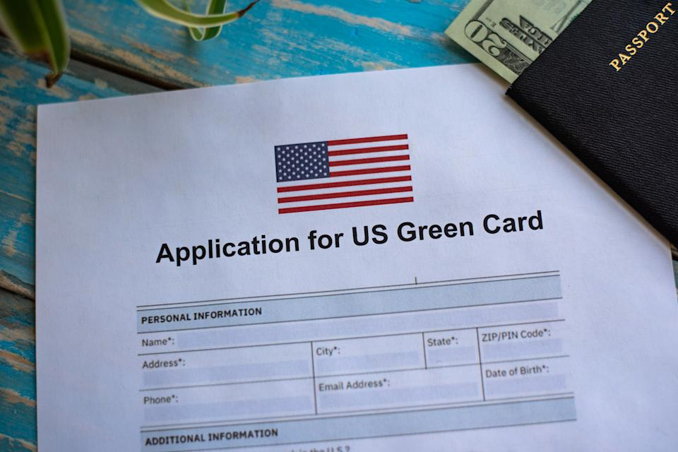 Illustrative photograph of form for USA green card application
