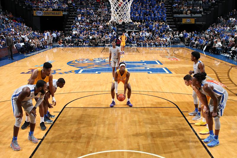 MEMPHIS, TN - NOVEMBER 6: Courtney Alexander II #22 of the Tennessee Tech Golden Eagles shoots a free-throw underhanded against the Memphis Tigers on November 6, 2018 at FedExForum in Memphis, Tennessee. Memphis defeated Tennessee Tech 76-61. (Photo by Joe Murphy/Getty Images)