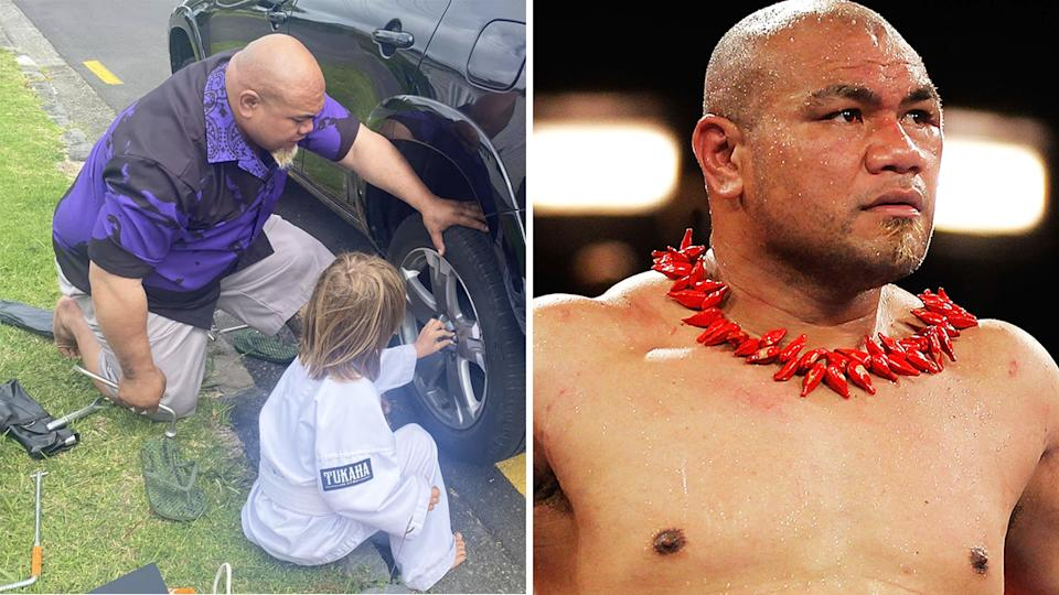 New Zealand boxing legend David Tua was praised after stopping to help a stranded driver change a tyre - and even teach her son how to do it. Pictures: Facebook/Getty Images