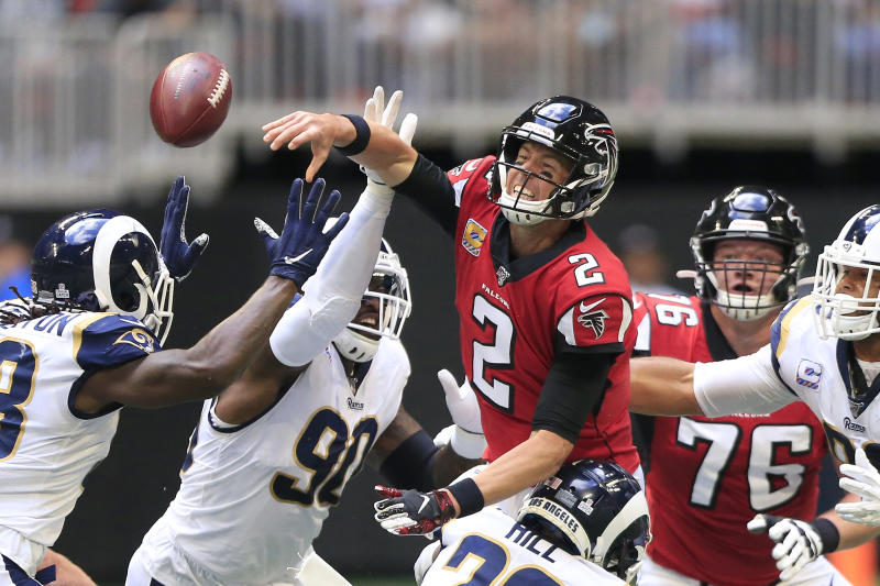 Falcons QB Matt Ryan left the game against the Rams with an ankle injury. (Photo by David John Griffin/Icon Sportswire via Getty Images)