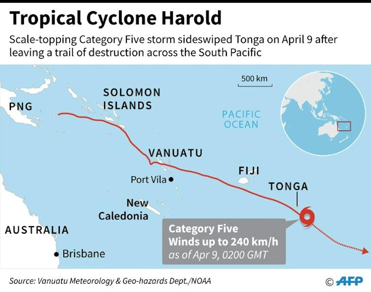 Map showing the path of Tropical Cyclone Harold which sideswiped Tonga on Thursday as a Category Five storm after leaving a trail of destruction across the South Pacific