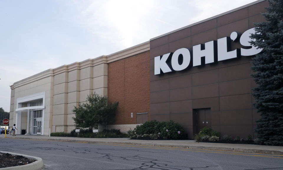 This Tuesday, Aug. 22, 2017, photo, shows a Kohl's retail store in Salem, N.H. Kohl's long-time CEO Kevin Mansell is retiring and will be replaced by Michelle Gass, a former Starbucks executive who has been with the company since 2013. The company says the change in leadership will take place in May 2018. (AP Photo/Charles Krupa)