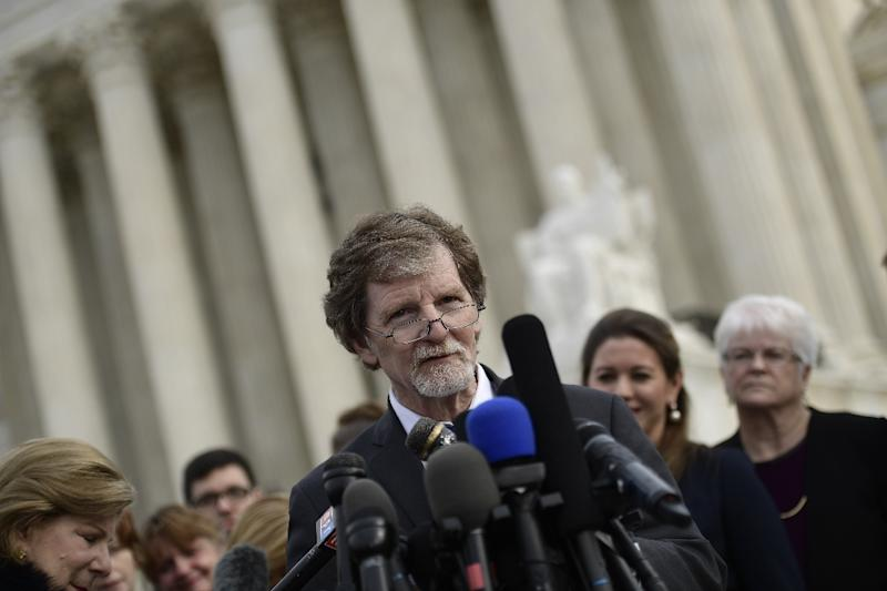 Phillips, whose lawyers argued that his cakes should be protected as a means of artistic expression, speaks outside the Supreme Court (AFP Photo/Brendan Smialowski)