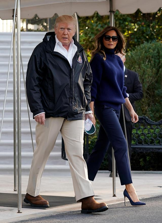 <p>President Donald Trump and first lady Melania Trump depart the White House in Washington, on their way to view storm damage in Puerto Rico, Oct. 3, 2017. (Photo: Kevin Lamarque/Reuters) </p>