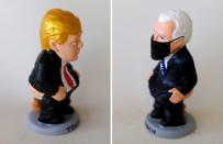 """A combo picture shows a clay """"caganer"""" representing U.S. President Trump and a clay ''caganer'' representing Democratic presidential candidate Biden, in Torroella de Montgri"""