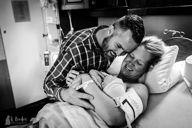 """""""We were all so glad he was there and safe that there were more happy tears for his arrival,"""" the photographer noted. (K Reeder Photography)"""