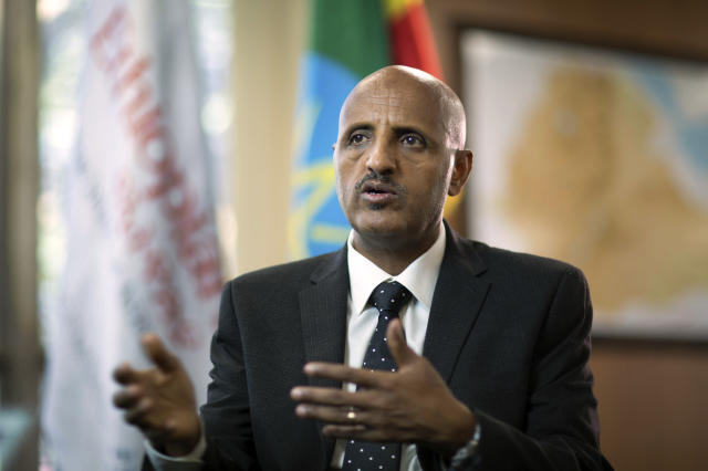 Tewolde Gebremariam, Chief Executive Officer of Ethiopian Airlines, speaks to The Associated Press at Bole International Airport in Addis Ababa, Ethiopia Saturday, March 23, 2019. The chief of Ethiopian Airlines says the warning and training requirements set for the now-grounded 737 Max aircraft may not have been enough following the Ethiopian Airlines plane crash that killed 157 people. (AP Photo/Mulugeta Ayene)