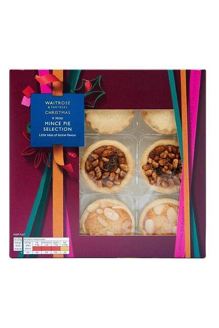 "<p><strong>Overall Score: 86/100</strong></p><p>This year's runner up alternative mince pie is actually a selection of mini mince pies in three flavours: Almond & Amaretto, Orange & Juniper and Caramelised Hazelnut Baklava. The Almond & Amaretto pie combines crisp buttery pastry, moist, sweet marzipan-flavoured sponge and flaked almonds, which top juicy, zesty mincemeat. The golden-brown buttery pastry case of the Orange & Juniper pie is filled with a zesty-fresh, lightly spiced vine fruit filling and was a standout for testers. The Caramelised Hazelnut Baklava pies have a fragrant, indulgent aroma and are packed with dried fruit, nuts orange zest, dried fruit, mixed spice, vanilla, honey and nuts. Moreish! <br><br><a class=""body-btn-link"" href=""https://www.waitrose.com/ecom/products/waitrose-christmas-all-butter-mini-mince-pie-selection/523413-373175-373176"" target=""_blank"">BUY NOW</a><strong> Waitrose, £3 for 9<br></strong></p>"