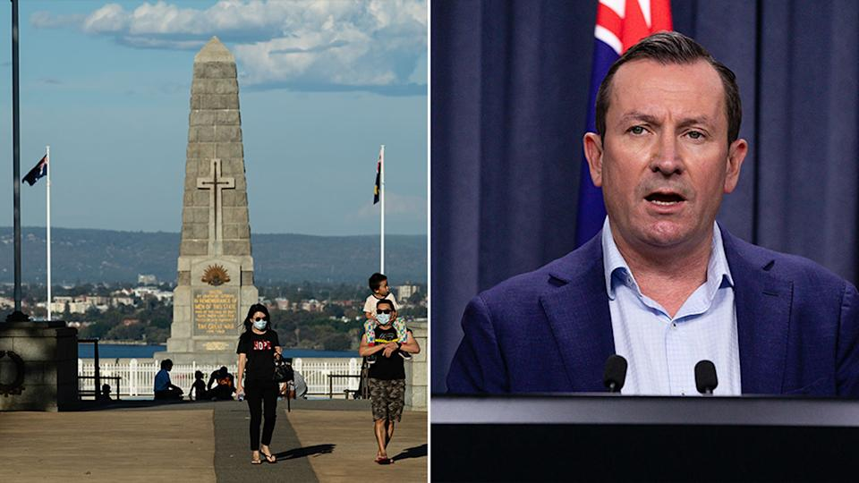 Anzac Day services were cancelled after Metropolitan Perth and the Peel region went into a three-day lockdown. Source: AAP