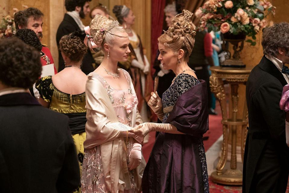 <p>Cressida and Lady Cowper are dressed up to the nines in silks and satins. Just look at those elaborate updos. </p>