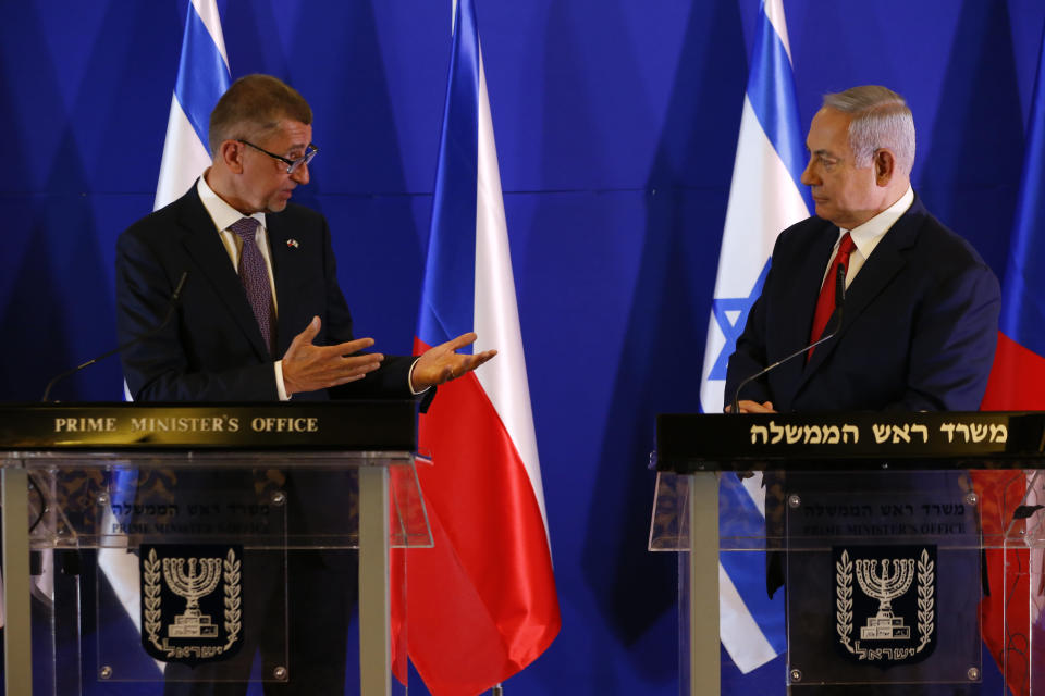Czech Republic's Prime Minister Andrej Babis, left, speaks as Israeli Prime Minister Benjamin Netanyahu listens after their meeting in Jerusalem, Tuesday, Feb. 19, 2019. (AP Photo/Ariel Schalit, Pool)