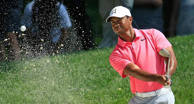 "<a class=""link rapid-noclick-resp"" href=""/pga/players/147/"" data-ylk=""slk:Tiger Woods"">Tiger Woods</a> shot 5-under on the front nine Saturday at the Memorial and had a share of the lead on the back nine. (Getty)"