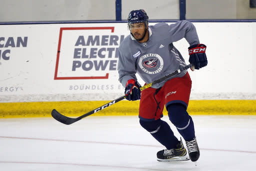 FILE - In this July 20, 2020, file photo, Columbus Blue Jackets' Seth Jones skates during the NHL hockey team's practice in Columbus, Ohio. Jones, Pittsburgh forward Jake Guentzel and Tampa Bay captain Steven Stamkos wouldve missed some or all of the playoffs if they started in April. Instead, the silver lining of the COVID-19 pandemic halting the season is those players are healthy and ready to contribute. (AP Photo/Jay LaPrete, File)