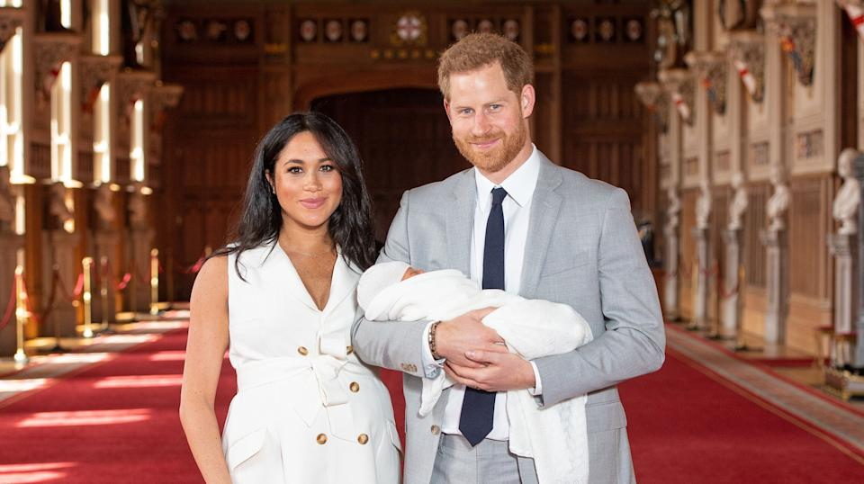 Meghan Markle and Prince Harry pose with their newborn son in Windsor Castle [Photo: PA]