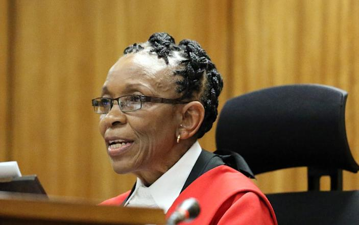 """Judge Thokozile Masipais said Oscar Pistorius had been responsible for """"gross negligence"""" as she read her judgement against the South African athlete (AFP Photo/Themba Hadebe)"""