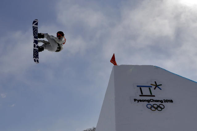 Red Gerard, of the United States, jumps during the men's slopestyle final at Phoenix Snow Park at the 2018 Winter Olympics in Pyeongchang, South Korea, Sunday, Feb. 11, 2018. (AP Photo/Kin Cheung)