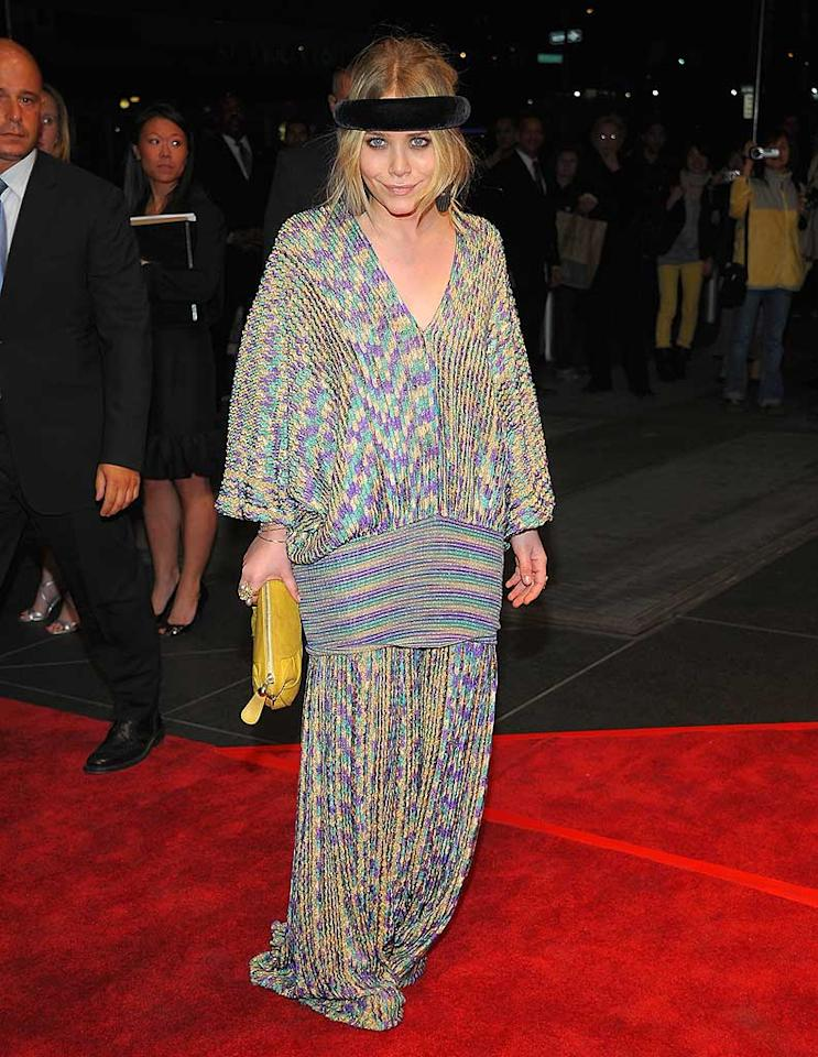 "Mary-Kate Olsen arrived at the New Yorkers for Children gala at the Mandarin Oriental in NYC wearing yet another ridiculous outfit topped off buy a retro velvet headband! Dimitrios Kambouris/<a href=""http://www.wireimage.com"" target=""new"">WireImage.com</a> - April 16, 2008"