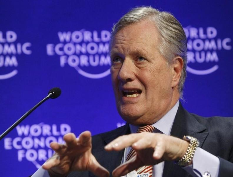 Unilever Chairman Treschow attends a session at the World Economic Forum in Davos