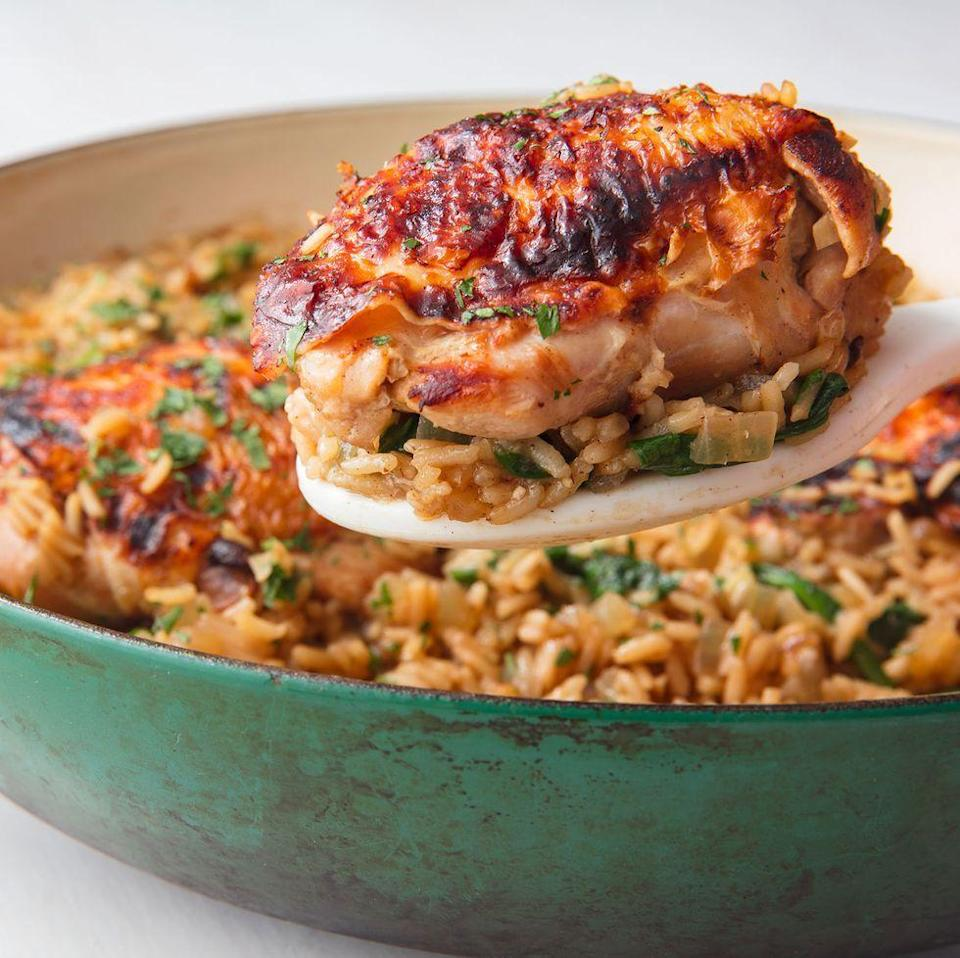 """<p>Ranch dressing turns up the flavour real quick.</p><p>Get the <a href=""""https://www.delish.com/uk/cooking/recipes/a29944701/ranch-chicken-thighs-with-rice-recipe/"""" rel=""""nofollow noopener"""" target=""""_blank"""" data-ylk=""""slk:Ranch Chicken & Rice"""" class=""""link rapid-noclick-resp"""">Ranch Chicken & Rice</a> recipe.</p>"""