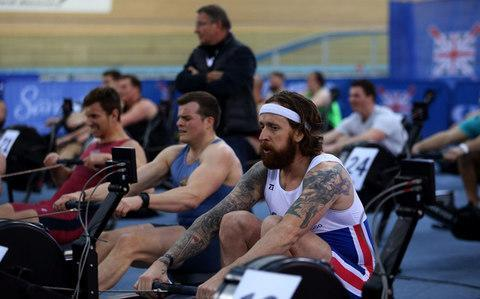 <span>Bradley Wiggins during the Open Men 2km Ht4 (2000m) during the British Indoor Rowing Championships at Lee Valley Velopark, London</span> <span>Credit: Steven Paston/PA </span>