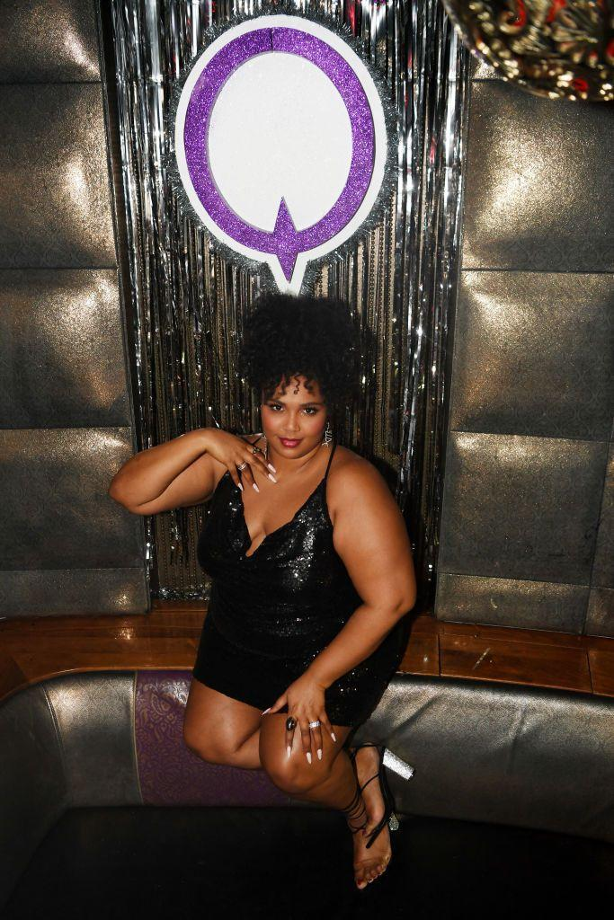 <p>The songstress before her performance at a Las Vegas nightclub in a glittery black number. <br></p>