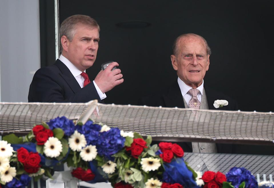 The Duke of York pictured with Prince Philip at the Epsom Derby in 2012.Getty Images