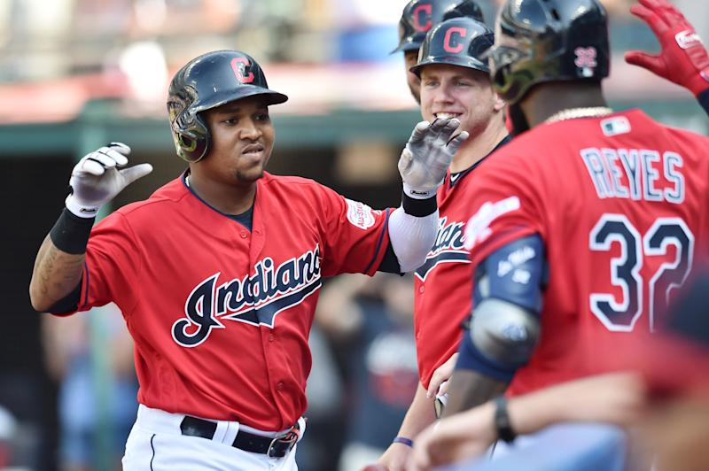 Aug 7, 2019; Cleveland, OH, USA; Cleveland Indians third baseman Jose Ramirez (11) celebrates after hitting a home run during the second inning against the Texas Rangers at Progressive Field. Mandatory Credit: Ken Blaze-USA TODAY Sports