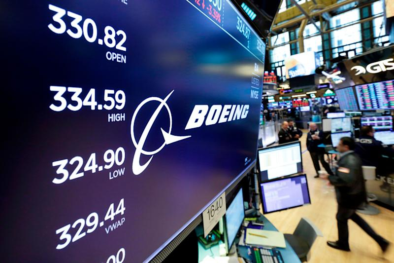 FILE- In this April 6, 2018, file photo the logo for Boeing appears above the post where it trades on the floor of the New York Stock Exchange. Boeing Co. reports earnings Wednesday, Oct. 24. (AP Photo/Richard Drew, File)