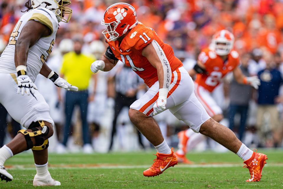CLEMSON, SOUTH CAROLINA - SEPTEMBER 18: Defensive lineman Bryan Bresee #11 of the Clemson Tigers runs against the Georgia Tech Yellow Jackets during their game at Clemson Memorial Stadium on September 18, 2021 in Clemson, South Carolina. (Photo by Jacob Kupferman/Getty Images)