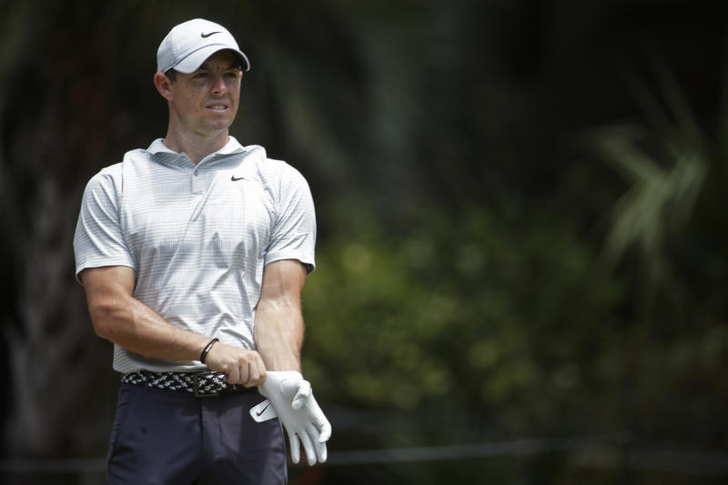 Rory McIlroy of Northern Ireland readies to tee off on the second hole during the final round of the RBC Heritage golf tournament, Sunday, June 21, 2020, in Hilton Head Island, S.C. (AP Photo/Gerry Broome)