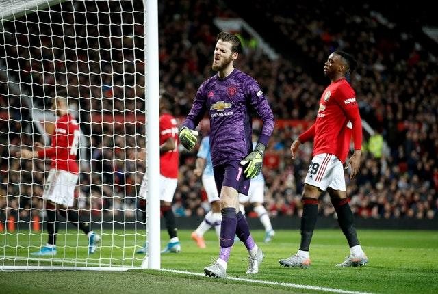 David De Gea reacts after Andreas Pereira's own goal