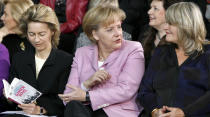 FILE - In this Monday, Jan. 26, 2009 file photo, German Family Minister Ursula von der Leyen, German Chancellor Angela Merkel and the publisher Alice Schwarzer, from left, take part on a '90 years of women's right to vote' morning performance at the chancellory in Berlin, Germany. Millions of women admire the 67-year-old for breaking through the glass ceiling of male dominance in politics, and she's been lauded as an impressive role model for girls both at home and around the globe. (AP Photo/Michael Sohn, File)