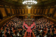 <p>Italy's Prime Minister Mario Draghi addresses the Senate in Rome Wednesday, Feb. 17, 2021, before submitting his government to a vote of confidence. (Alberto Pizzoli/POOL photo via AP)</p>
