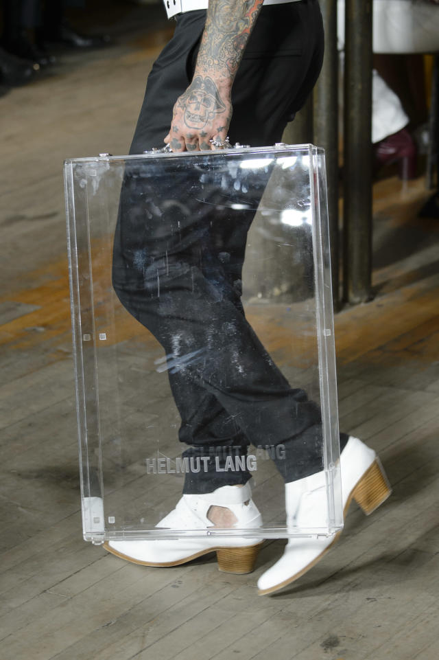 <p><i>Clear Lucite briefcase from the Helmut Lang SS18 collection. (Photo: ImaxTree) </i></p>